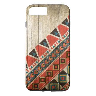 Hölzerne aztekische Muster-Vorlage iPhone 8 Plus/7 Plus Hülle