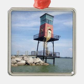 Hölzerne Boots-Zeichen-Foto-Feiertags-Verzierung Quadratisches Silberfarbenes Ornament