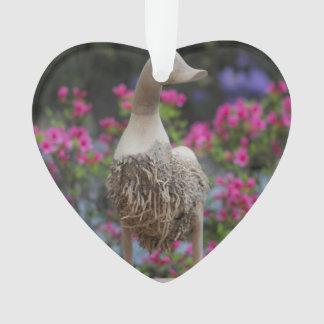 Hölzerne Ente mit Blumen Ornament