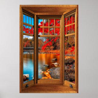 Hölzerne Erkerfenster-Herbst-Landschaft - Illusion Poster