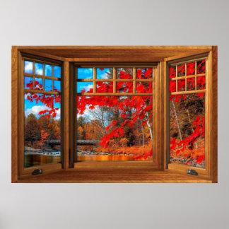 Hölzerne Erkerfenster-Illusion - Herbst-Landschaft Poster