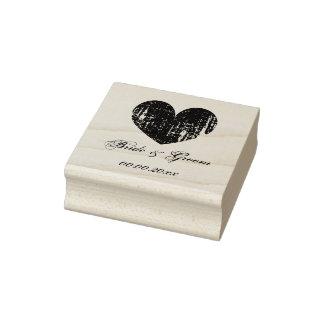 Hölzerne Kunst-Hochzeits-Briefmarke mit Vintagem Gummistempel