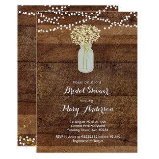 Hölzerne Maurer-Glas-Brautparty-Einladung Karte