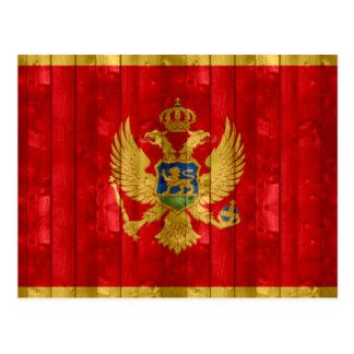 Hölzerne montenegrinische Flagge Postkarte