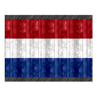 Hölzerne niederländische Flagge Postkarte