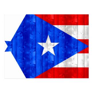 Hölzerne puertorikanische Flagge Postkarte