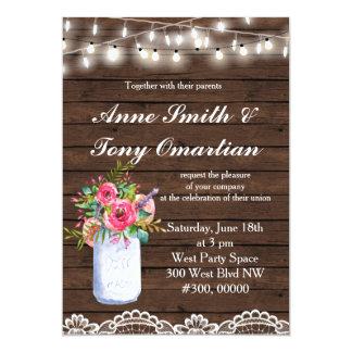 Hölzerne rustikale Hochzeits-Einladung Karte