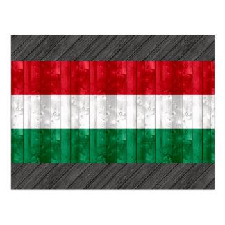Hölzerne ungarische Flagge Postkarte