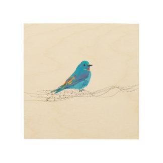 Hölzerne Wand-Kunst-blauer Vogel-Musiknoten Holzwanddeko