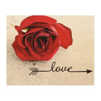 Hölzerne Wandkunst der Rosen-Liebe Holzwanddeko