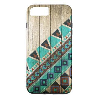 Hölzerner aztekischer Muster-Türkis iPhone 8 Plus/7 Plus Hülle