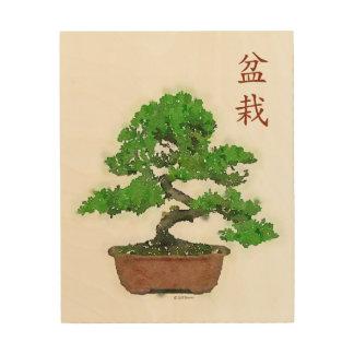 Hölzerner Druck: Japanischer Bonsais-Baum Holzleinwand