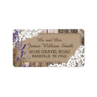 Hölzerner Lavendel-und Spitze-rustikaler Adressaufkleber