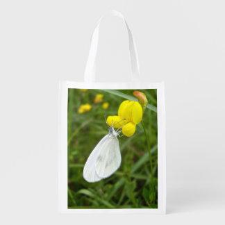 Hölzerner weißer Schmetterlings-wiederverwendbare Wiederverwendbare Einkaufstasche