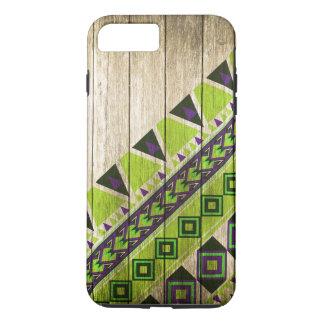 Hölzernes aztekisches Muster-Grün iPhone 8 Plus/7 Plus Hülle