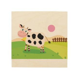 Hölzernes Brett mit Kuh Holzwanddeko