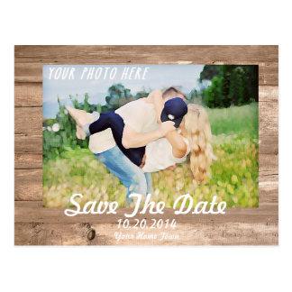 Hölzernes Save the Date Weiß Postkarte