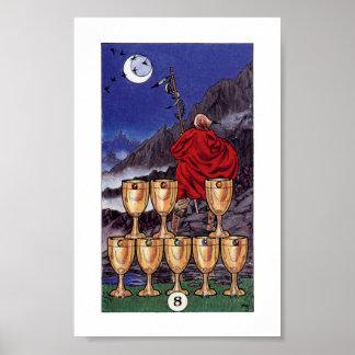 Hölzernes Tarot Robins - 8 von Schalen Poster