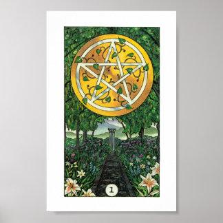Hölzernes Tarot Robins - As der Pentagramme Poster