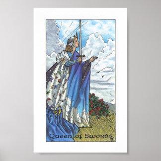 Hölzernes Tarot Robins - Königin der Schwerter Poster