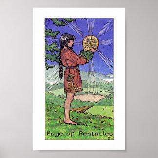 Hölzernes Tarot Robins - Seite der Pentagramme Poster