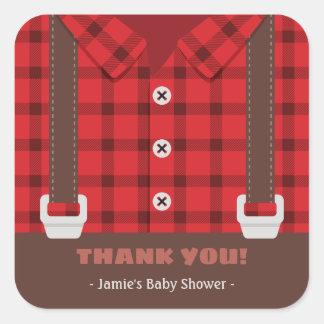 Holzfäller-Jungen-danken rote karierte Baby-Dusche Quadratischer Aufkleber