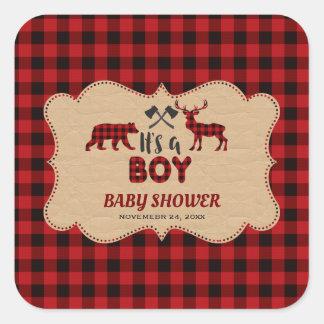 Holzfäller-roter Büffel kleine Jäger-Babyparty Quadratischer Aufkleber