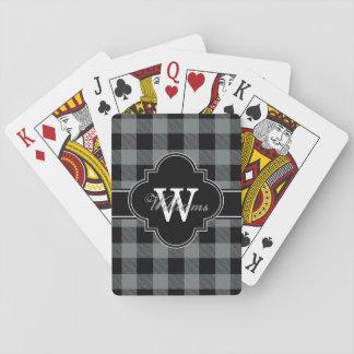 Holzkohlen-Grau-schwarzer Büffel-Karo kariertes Spielkarten
