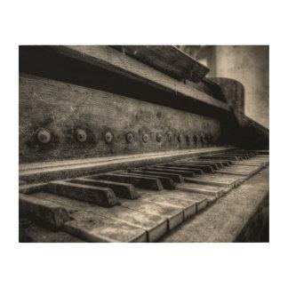 Holzleinwand - Old Piano altes Klavier - Holz