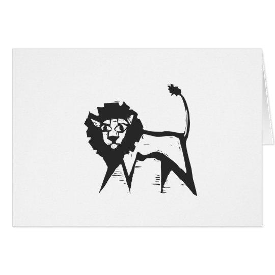 Holzschnitt-Löwe Karte
