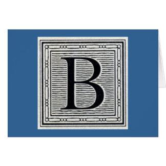 "Holzschnitt Woodblock Initiale der Holztype-""B"" Grußkarte"