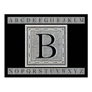 "Holzschnitt Woodblock Initiale der Holztype-""B"" Postkarte"