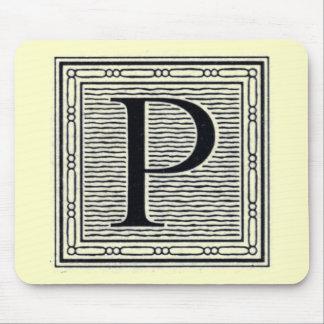 """Holzschnitt Woodblock Initiale der Holztype-""""P"""" Mousepads"""