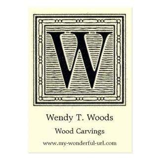 "Holzschnitt Woodblock Initiale der Holztype-""W"" Mini-Visitenkarten"