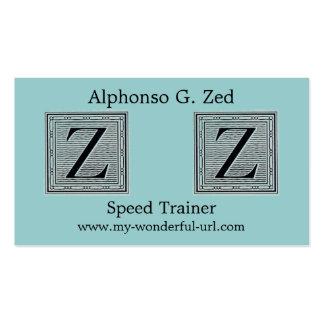 """Holzschnitt Woodblock Initiale der Holztype-""""Z"""" Visitenkarten"""