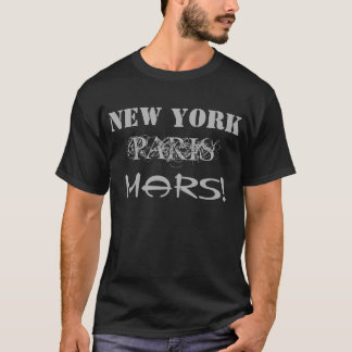 Hommes gris de T-shirt de New York Paris Mars