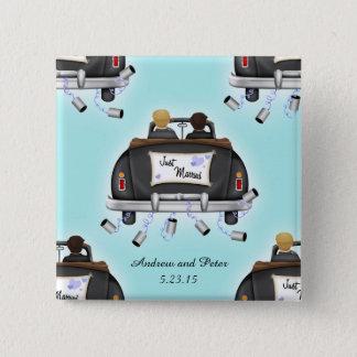 Homosexuelle Hochzeits-personalisierter Quadratischer Button 5,1 Cm