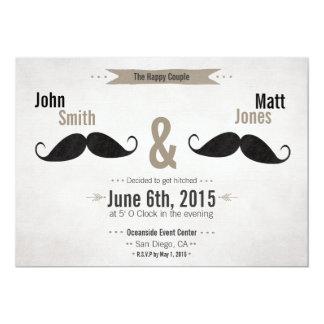 Homosexuelle Hochzeits-Schnurrbart-Einladung 12,7 X 17,8 Cm Einladungskarte