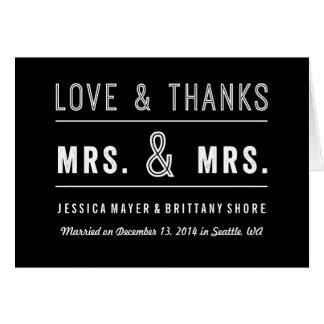 Homosexuelle lesbische Paar-Hochzeit danken Ihnen Grußkarte