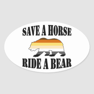 Homosexueller Bärn-Stolz retten Bären a-Pferdfahrt Ovaler Aufkleber