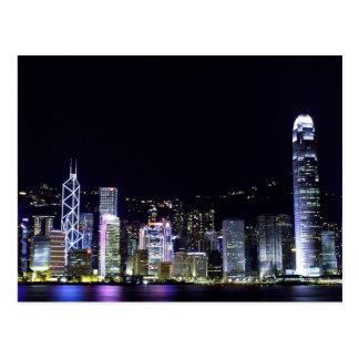 Hong Kong an der Nachtpostkarte Postkarte