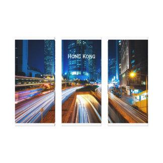 Hong Kong-Stadtbild nachts Leinwanddruck