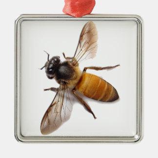 Honig-Biene Quadratisches Silberfarbenes Ornament