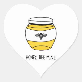 Honig, Bienen-Bergwerk Herz-Aufkleber