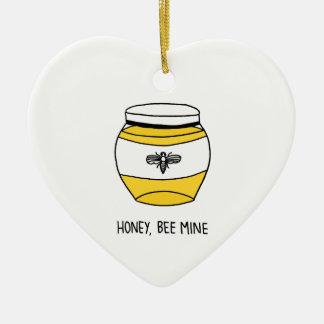 Honig, Bienen-Bergwerk Keramik Herz-Ornament