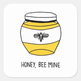 Honig, Bienen-Bergwerk Quadratischer Aufkleber
