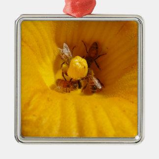 Honig-Bienen-Stau Quadratisches Silberfarbenes Ornament