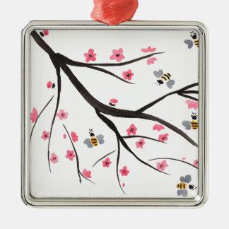 Honig-Bienen und Kirschblüten Silbernes Ornament