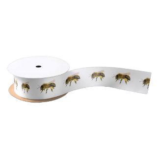 Honig-Bienen-Wasserfarbe-Malerei-Grafik-Druck Satinband
