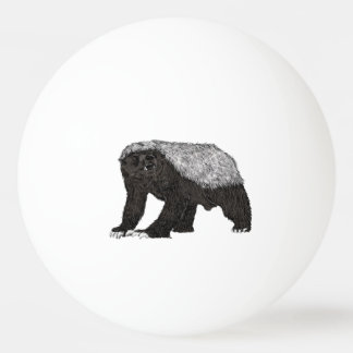 Honig-Dachs furchtlos mit Haltungs-Tierentwurf Ping-Pong Ball